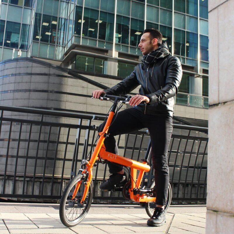 Flit16 lightweight folding ebike Blaze Orange