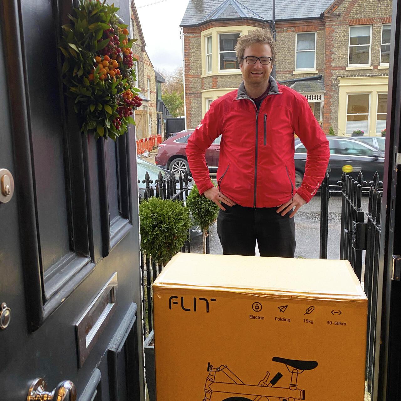 Alex delivering bikes in Cambridge